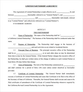 partnership agreement example limited partnership agreement template