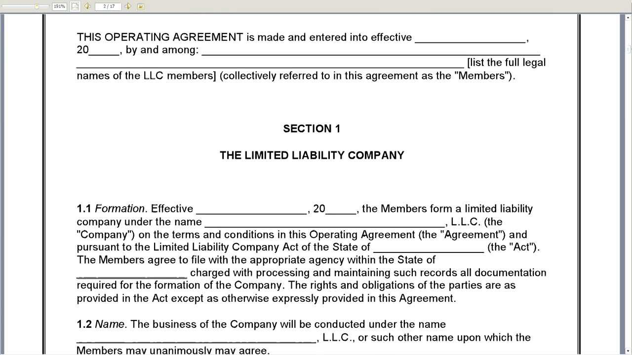 Business Operating Agreement Sample Aprilonthemarchco - Limited liability company operating agreement template