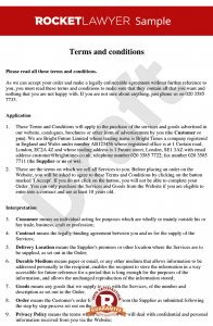 partnership agreement example terms and conditions for supply of services to consumers via a website