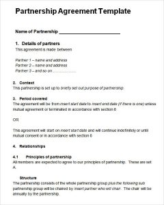 partnership agreement sample partnership agreement template word