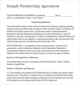 partnership agreement sample simple partnership agreement template