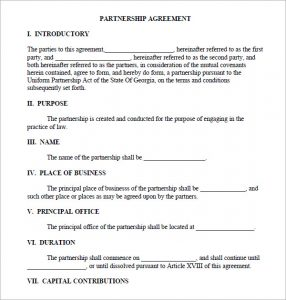 partnership agreement template business partnership agreement sample