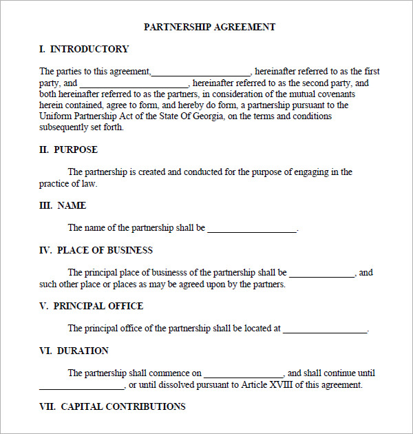 partnership agreement template