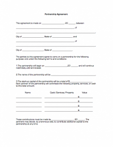 partnership agreement template partnership agreement1