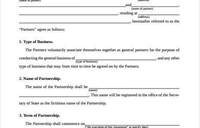partnership agreement template simple general partnership agreement