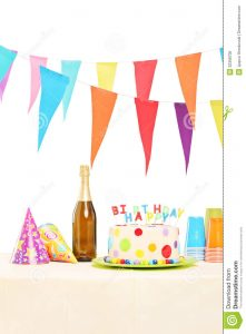 party plan template bottle sparkling wine plastic glasses party hats birthd birthday cake table isolated white background