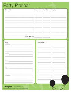 party planner template home party