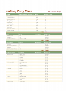 party planner template party planner template excel