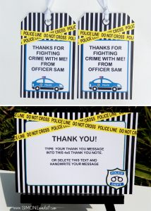 party planning template police birthday party favor tags