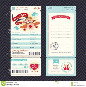 passport invitation template cartoon boarding pass ticket wedding invitation template vector