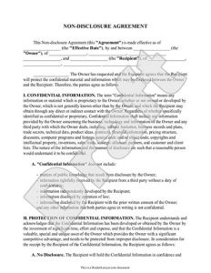 patent application form non disclosure agreement sample