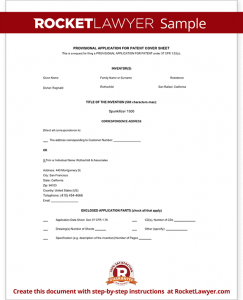 patent application form sample provisional patent application form template