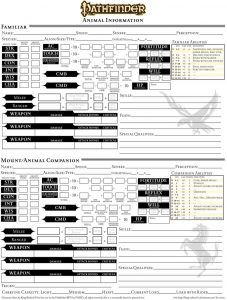 pathfinder printable character sheet character sheet page companions and familiars by king radical ii dkia
