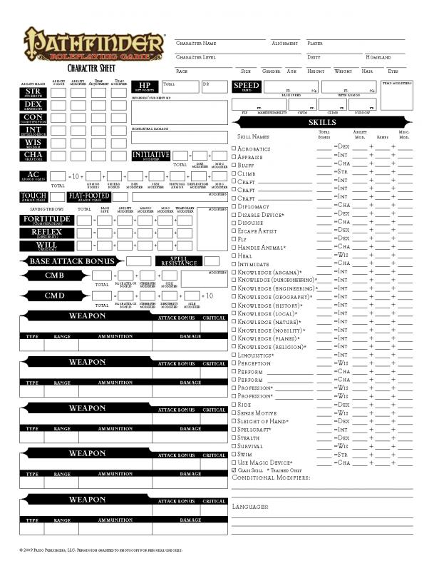 pathfinder printable character sheet