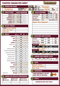 pathfinder printable character sheet pic md