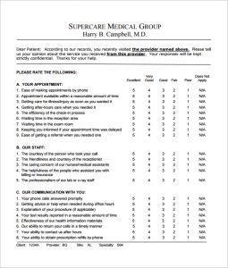 patient satisfaction survey questions patient feedback survey free pdf