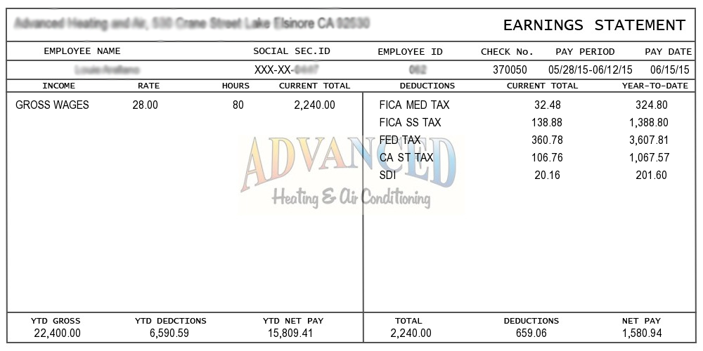 pay stub example