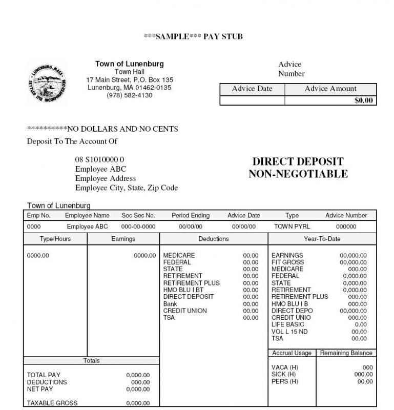 template for payroll check stub - pay stub example template business