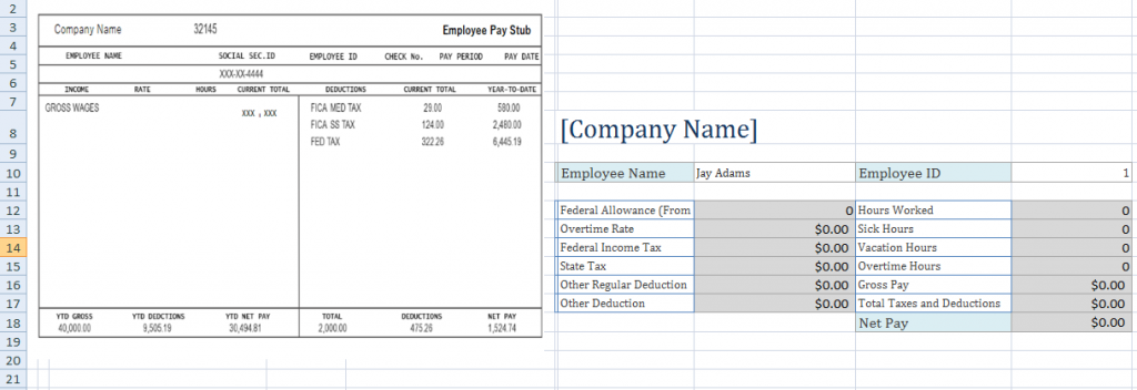 Pay Stub Template Excel Template Business