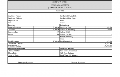 pay stub template free business templates free pay stub and salary slip template sample
