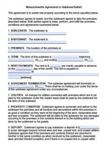 payment agreement form massachusetts agreement to sublet x