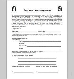 payment agreement letter between two parties contract labor agreement