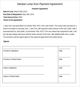payment agreement template agreement payment plant template