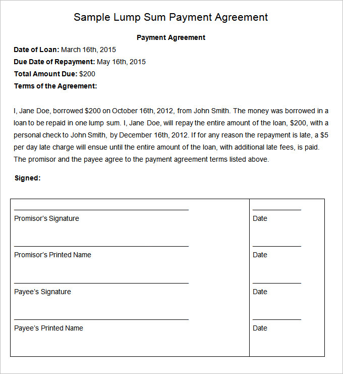 Payment Agreement Template  Template Business
