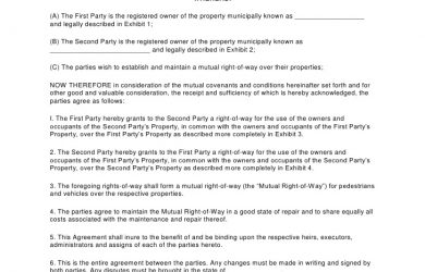 payment agreement template between two parties right of way mutual agreement