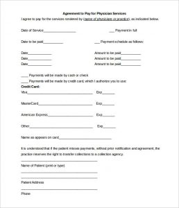 payment agreement template free patient payment plan agreement template editable word