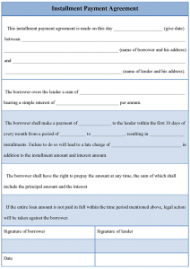 payment agreement template installment payment agreement template