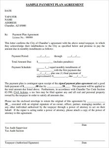 payment agreement template sample payment plan agreement