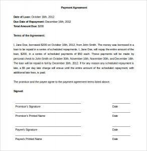 payment agreement template sample payment plan agreement word doc download