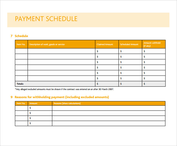 Payment Schedule Template Template Business
