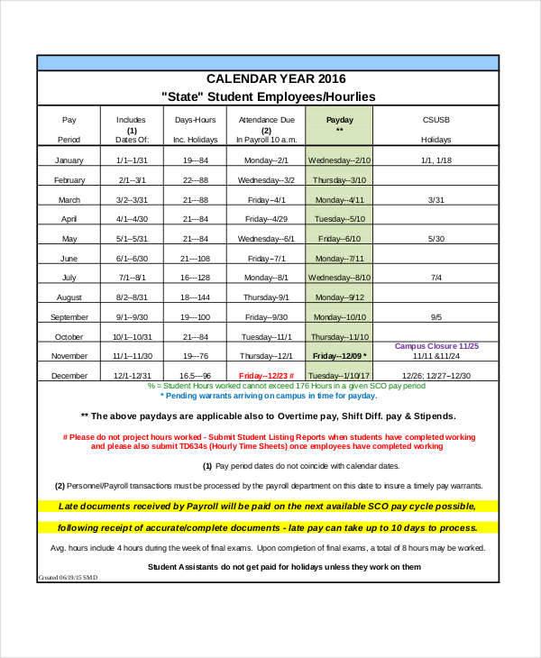 payroll calendar template