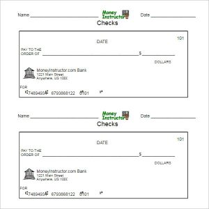 payroll checks template printable blank check template pdf format