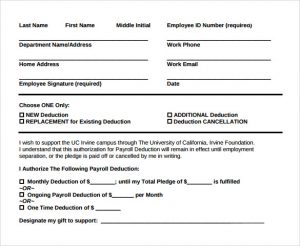 payroll deduction form example of payroll deduction form