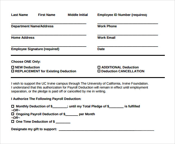 Payroll Deduction Form Template Business