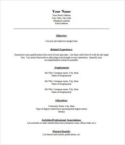 Pdf Resume Template Combination Format Blank Resume Template Free Pdf  Free Fill In Resume Template