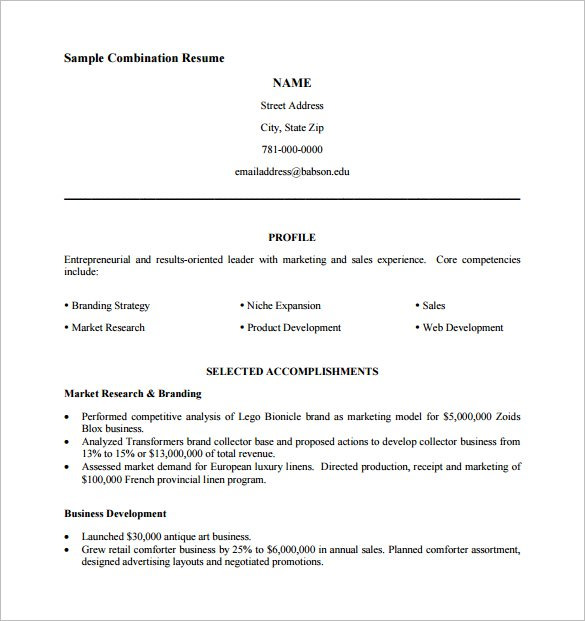 Pdf Resume Template  Business Resume Template