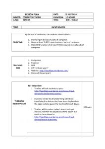 pe lesson plan template lesson plan input devices