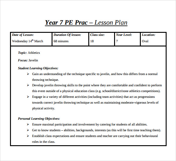 Pe Lesson Plan Template Template Business - Lesson plan template for physical education