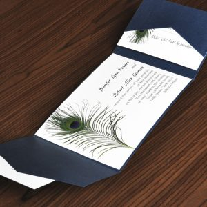 peacock wedding invitations classical peacock feathers pocket wedding card