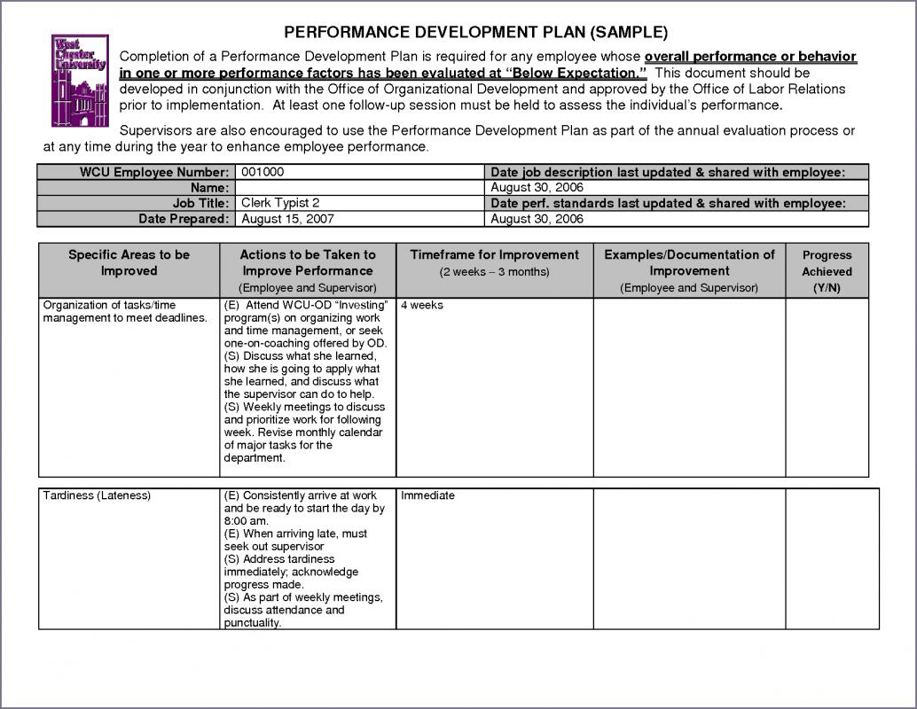 performance improvement plan examples
