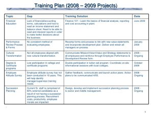 performance review forms training plan