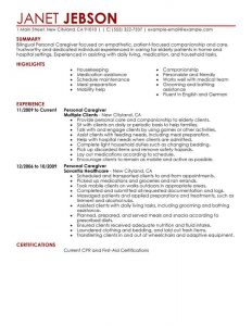 personal assistant resume personal care personal care and services personal care resume sample personal care assistant resume responsibilities by janet jebson