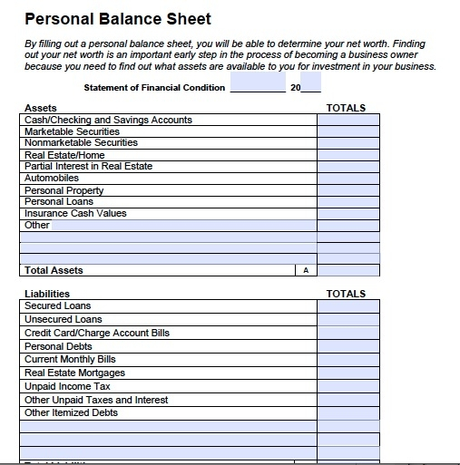 Personal Balance Sheet  Template Business