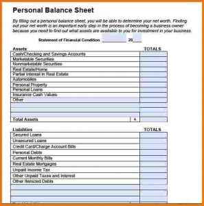 personal balance sheet personal balance sheet example personal balance sheet template pdf