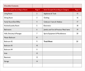 personal balance sheet template free home inventory list template download