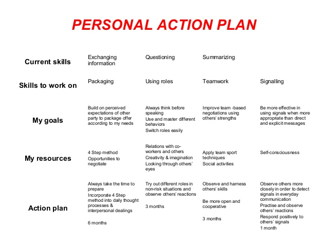 Personal Development Plans Example  Personal Action Plan Template